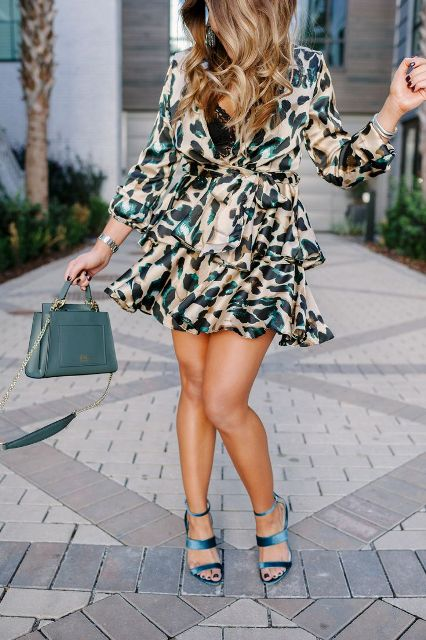 With satin heeled sandals and mint green bag