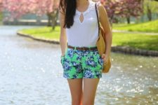 With sleeveless top, tote bag and ankle strap shoes
