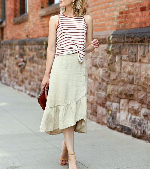 With striped top, clutch and ankle strap high heels