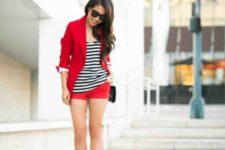 With white and black striped shirt, red shorts, red blazer and black bag