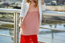 With white blazer, sunglasses and emellished shoes
