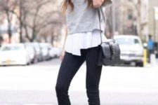With white blouse, gray cropped sweatshirt, black leather bag and black skinny pants