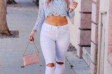 With white distressed pants, pale pink bag and pumps