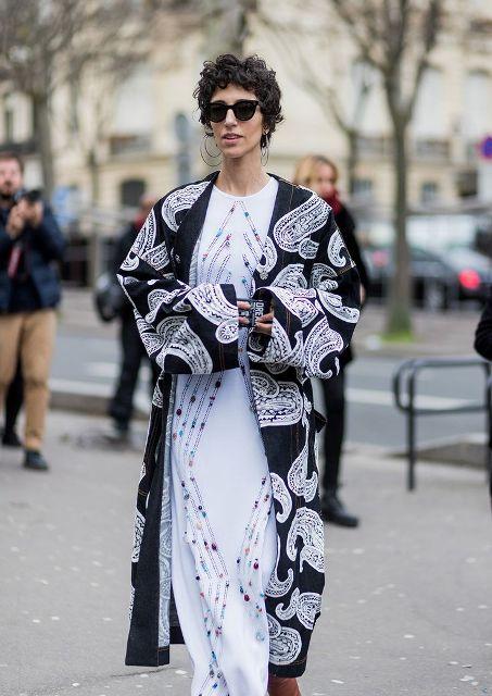 With white embellished maxi dress