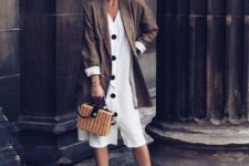 With white midi dress, straw bag and white mules