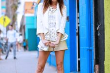 With white ruffled blouse, white blazer, mini bag and white ankle strap shoes