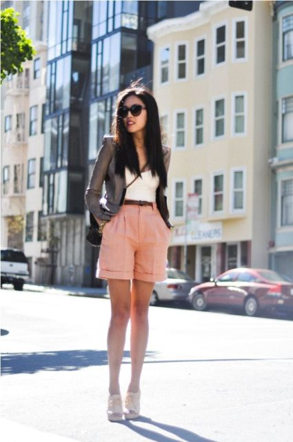 With white top, blazer, crossbody bag and cutout shoes