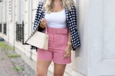 With white top, checked blazer, beige bag and navy blue high heels