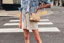 With white top, denim jacket, crossbody bag and brown sandals