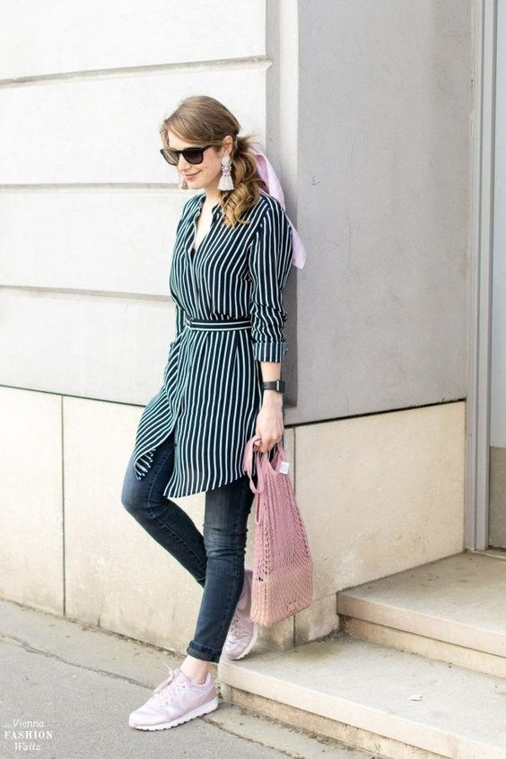 a cozy spring look with a shirtdress and sneakers