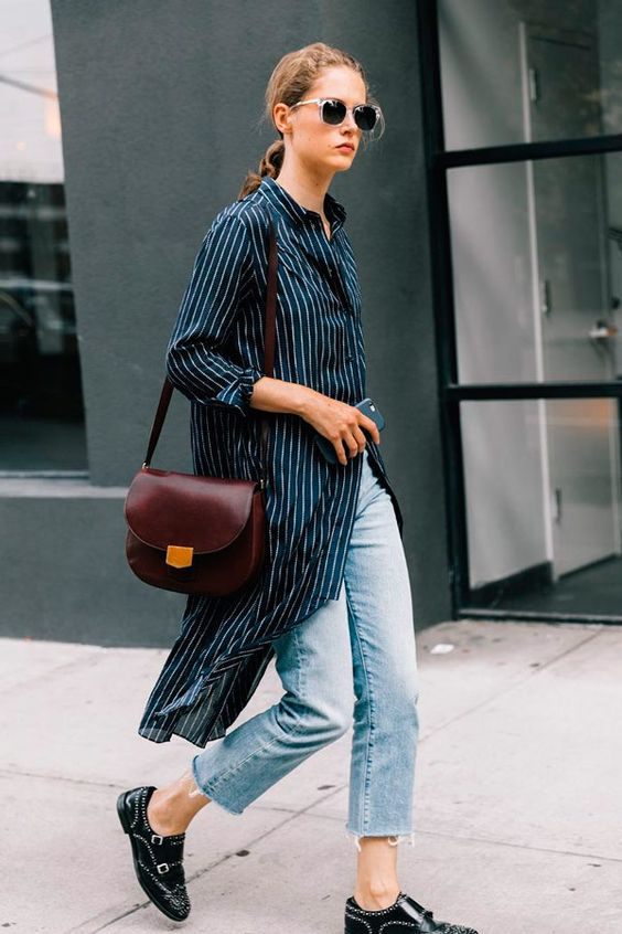 a black striped midi shirtdress, blue cropped jeans, black shoes and a burgundy bag for every day
