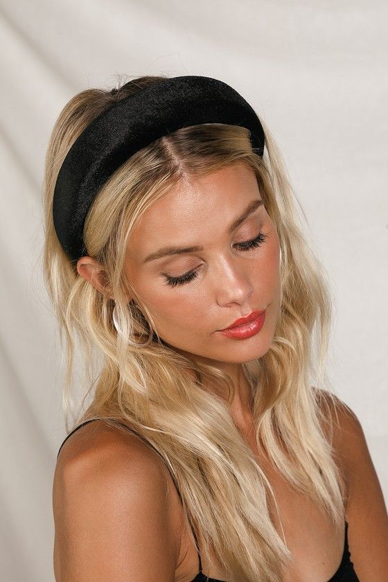 a black velvet padded headband as a fashion statement and a comfy accessory for any hair