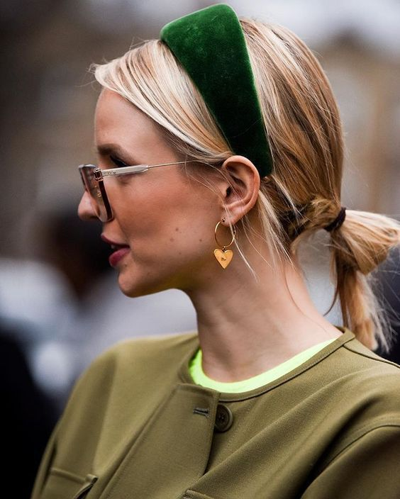 a bold green velvet padded headband will definitely add a bright touch to your look