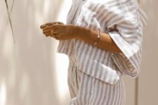 a comfy striped linen loungewear suit with an oversized V-neckline top and wideleg pants
