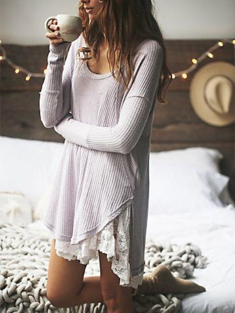 a crochet dress with a lace trim and long sleeves looks a bit boho and feels relaxed
