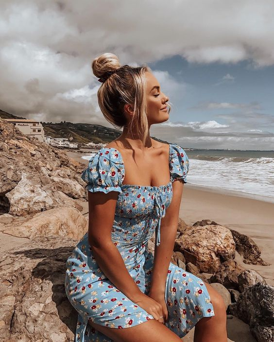 a cute blue floral knee dress with puff short sleeves and a square neckline for a retro chic look