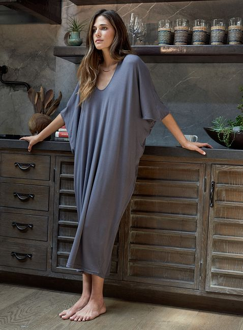 a graphite grey oversized t-shirt dress with short sleeves is ultimate for wearing at home