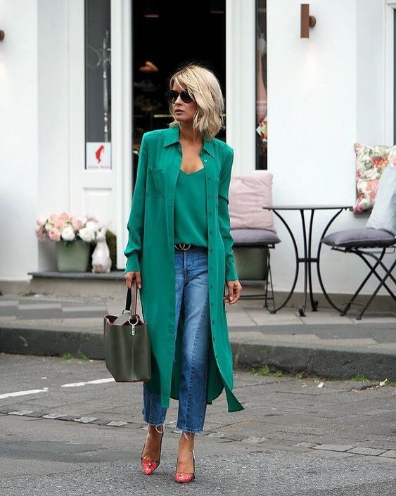 a green top and matching shirtdress, blue straight jeans, floral shoes and a green bag to wear right now