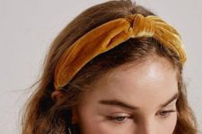 a mustard knot velvet headband is a fresh take on classics that is comfy to wear anywhere