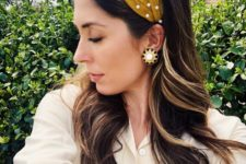 a mustard velvet pearl knot headband for a trendy look and a touch of color