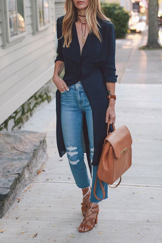 a navy midi shirtdress with short sleeves, blue jeans, tan lace up heels and a matching backpack plus a leather choker