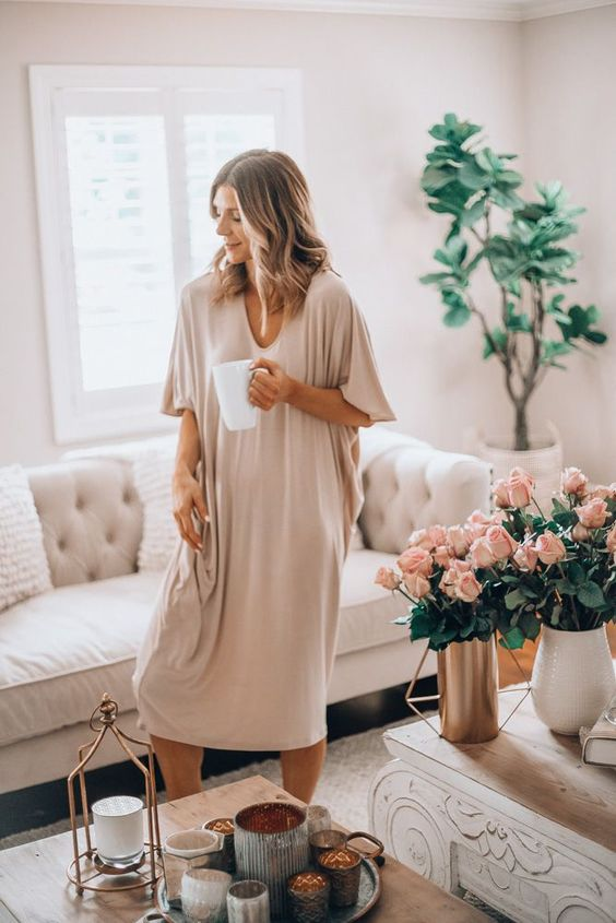 a neutral and very comfortable oversized midi plain dress with short sleeves is perfect for home
