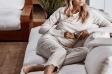 a neutral loungewear suit with a long sleeve top and cropped pants for an everyday look