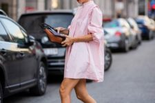 a sexy summer look with a pink shirtdress