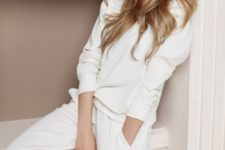 a pure white loungewear set with a long sleeve top and comfy pants is perfect to wear at home