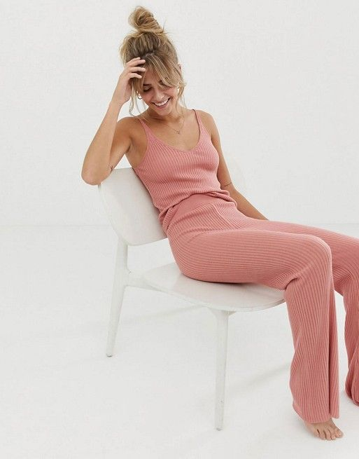 a simple pink loungewear rib set with a thick strap top and flare pants is perfect for now