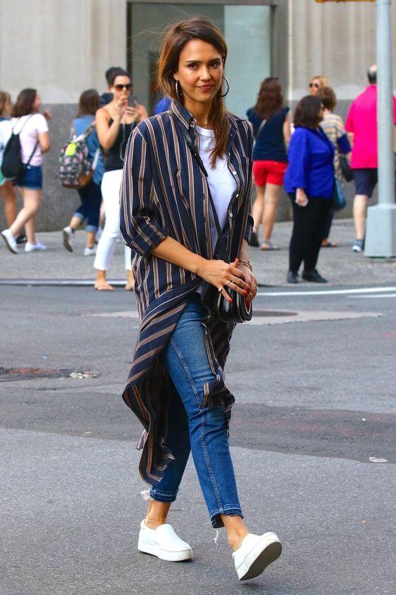 a striped midi shirtdress, blue cropped jeans, white slipons and a crossbody bag by Jessica Alba