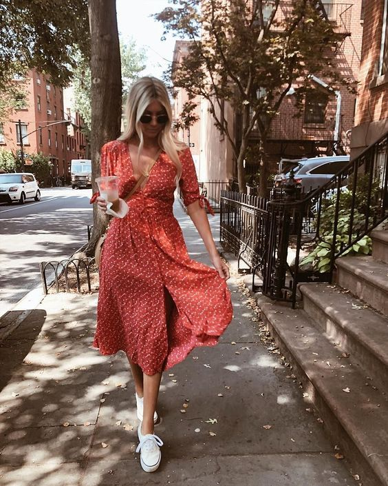 a vintage-inspired bright red midi dress with short sleeves, white sneakers and sunglasses for every day