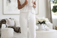 a white oversized top, white joggers and fluffy slippers will make your day totally perfect