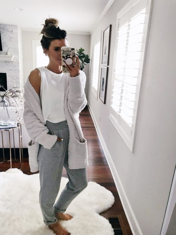a white top, grey sport pants, a comfy dove grey cardigan to wear at home during quarantine
