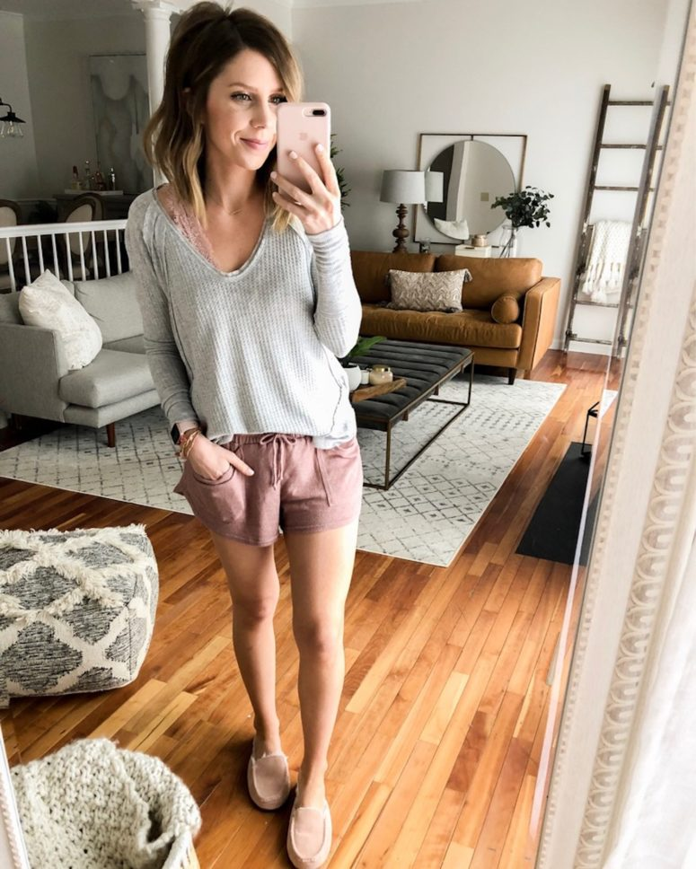 dusty pink shorts, a grey crochet top, a pink bralette and slippers for an everyday home look