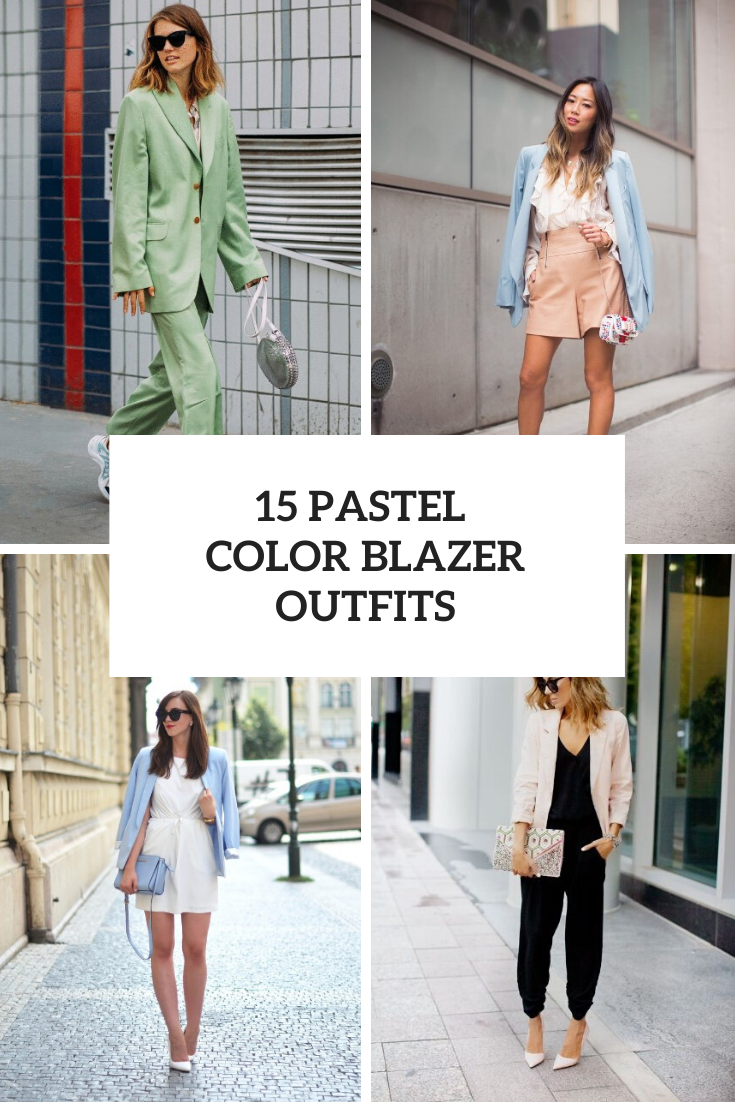 Looks With Pastel Colored Blazers