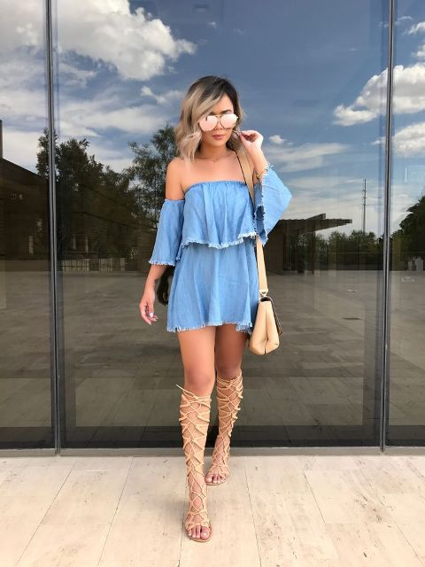 With beige bag, gladiator sandals and sunglasses