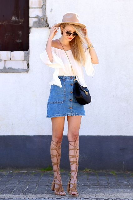 With beige hat, black chain strap bag, gladiator sandals and white off the shoulder blouse