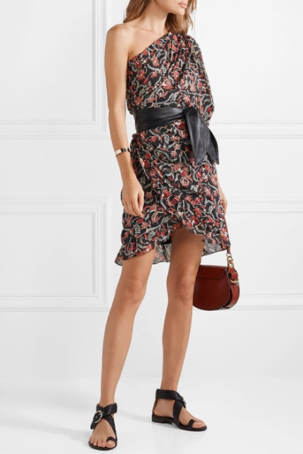 With black leather belt, brown bag and black flat sandals