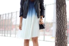 With black leather jacket, chain strap bag and ankle strap high heels