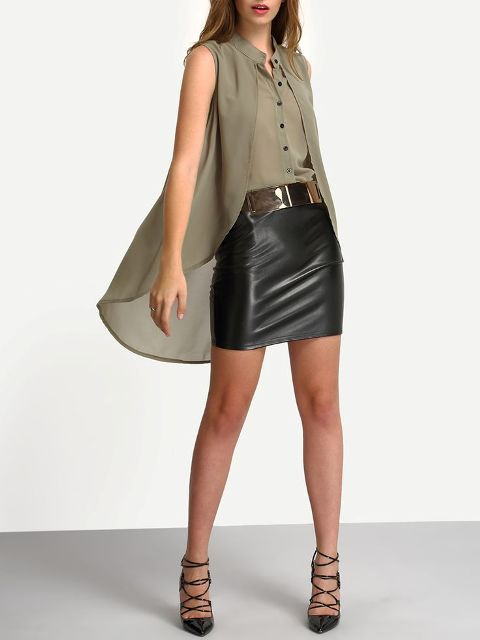With black leather mini skirt, golden belt and black lace up shoes