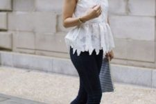 With black skinny pants, striped clutch and beige ankle strap high heels