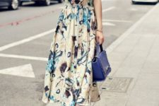 With blue bag and flat sandals
