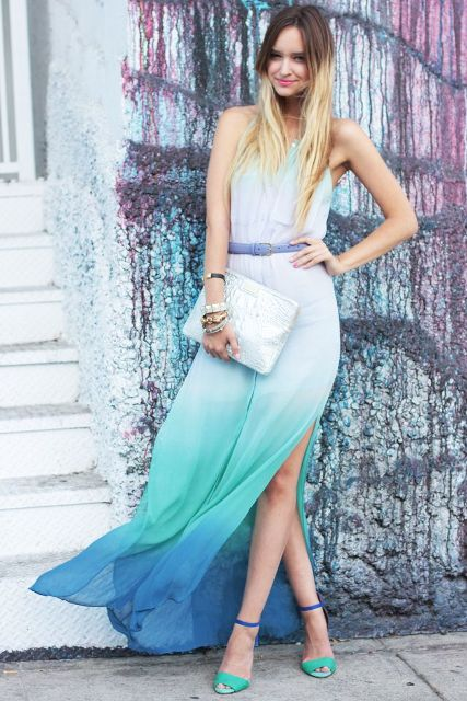 With blue belt, silver clutch and two colored shoes