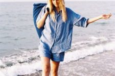 With blue linen shorts