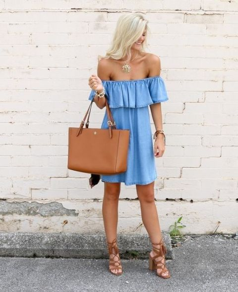 With brown tote bag and lace up high heels