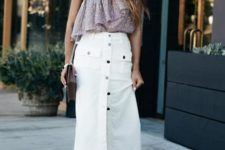 With button down midi skirt, black shoes and bag