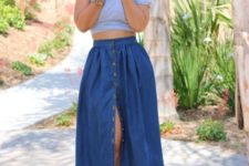 With crop top and leopard ankle strap shoes
