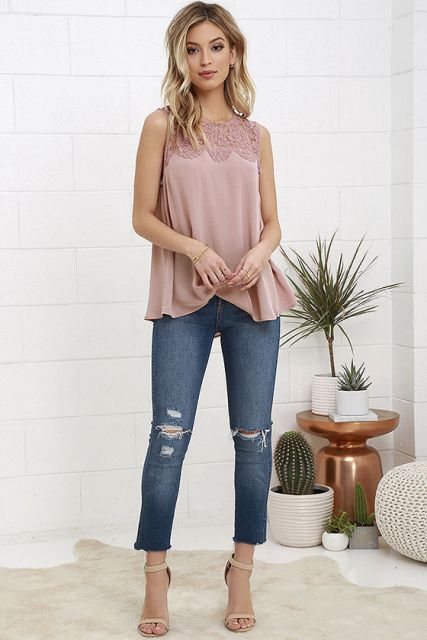With cropped jeans and beige ankle strap shoes