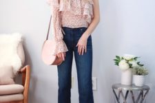 With cropped jeans, bag and brown leather flat shoes